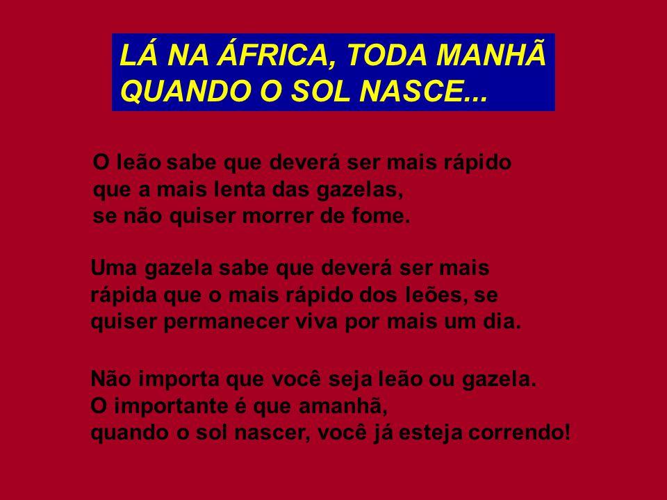 LÁ NA ÁFRICA, TODA MANHÃ QUANDO O SOL NASCE... O leão sabe que deverá ser mais rápido que a mais lenta das gazelas, se não quiser morrer de fome. Uma