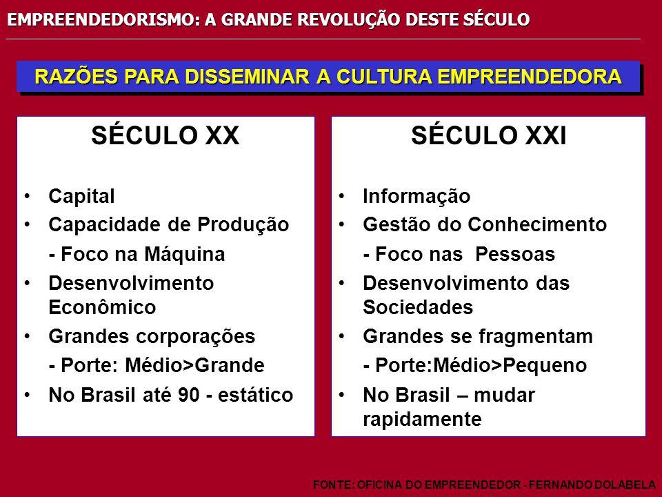 EMPREENDEDORISMO: A GRANDE REVOLUÇÃO DESTE SÉCULO RAZÕES PARA DISSEMINAR A CULTURA EMPREENDEDORA FONTE: OFICINA DO EMPREENDEDOR - FERNANDO DOLABELA SÉCULO XX Capital Capacidade de Produção - Foco na Máquina Desenvolvimento Econômico Grandes corporações - Porte: Médio>Grande No Brasil até 90 - estático SÉCULO XXI Informação Gestão do Conhecimento - Foco nas Pessoas Desenvolvimento das Sociedades Grandes se fragmentam - Porte:Médio>Pequeno No Brasil – mudar rapidamente
