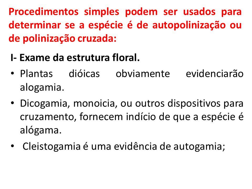 Procedimentos simples podem ser usados para determinar se a espécie é de autopolinização ou de polinização cruzada: I- Exame da estrutura floral. Plan