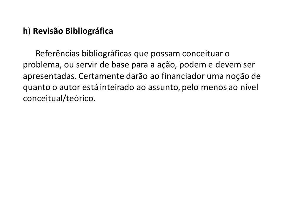 h) Revisão Bibliográfica Referências bibliográficas que possam conceituar o problema, ou servir de base para a ação, podem e devem ser apresentadas.