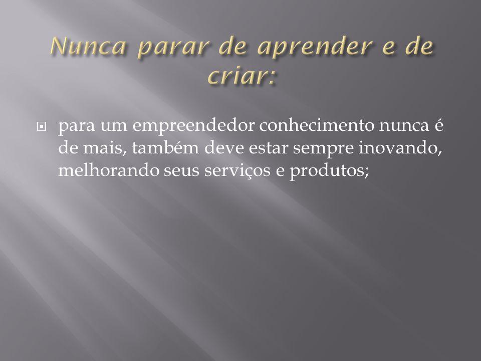  para um empreendedor conhecimento nunca é de mais, também deve estar sempre inovando, melhorando seus serviços e produtos;