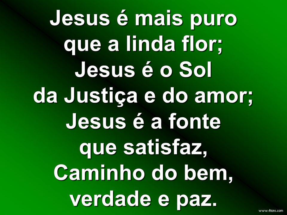 Jesus é mais puro que a linda flor; Jesus é o Sol da Justiça e do amor; Jesus é a fonte que satisfaz, Caminho do bem, verdade e paz.