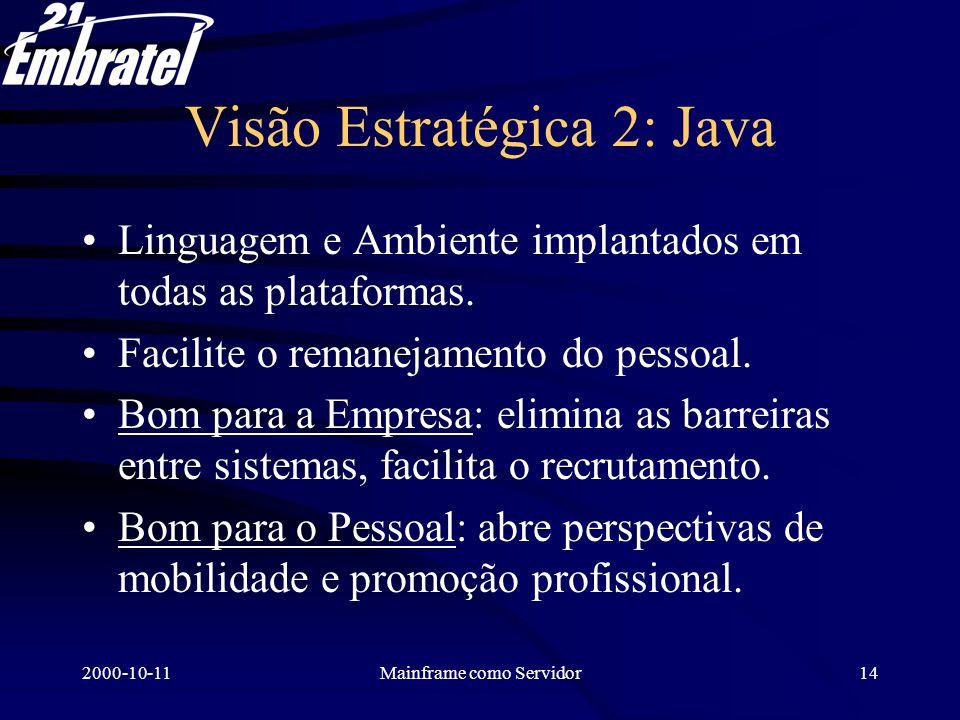 2000-10-11Mainframe como Servidor15 Visão Estratégica 3: Browser Usar no PC cliente um browser simples SEM extensões proprietárias (como VB), abre um futuro sem os problemas do PC: –dificuldade de real controle centralizado.