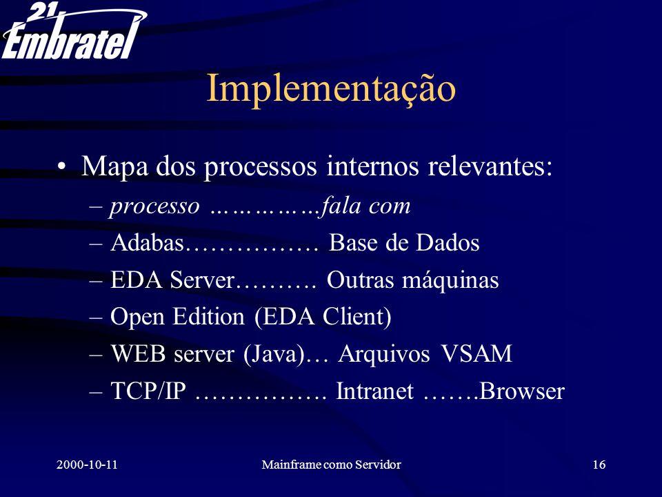 2000-10-11Mainframe como Servidor17 Exemplo de resultado Consulta aos arquivos de chamadas telefônicas (CDRs, Call Data Records) 30.000.000 CDRs Horário de pico de uso Máquina: 4 * 110 MIPS Consulta em 7 a 10 segundos