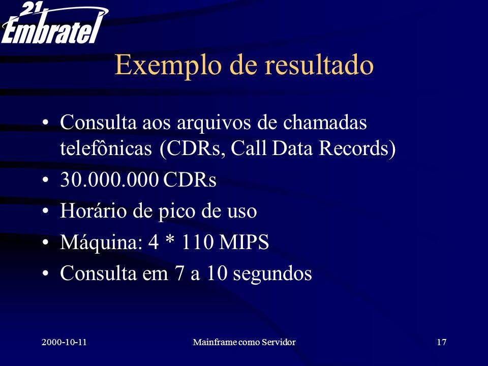 2000-10-11Mainframe como Servidor18 Demonstração Visitar a página IBMWEB na Intranet.