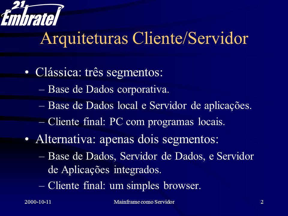 2000-10-11Mainframe como Servidor3 Solução implantada No Mainframe: há solução completa IBM –Servidor WEB –Ambiente UNIX –Java.