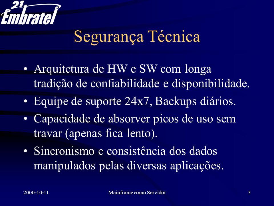 2000-10-11Mainframe como Servidor6 Segurança Lógica Usar os arquivos diretamente no Mainframe elimina a replicação descontrolada para outros ambientes menos seguros.