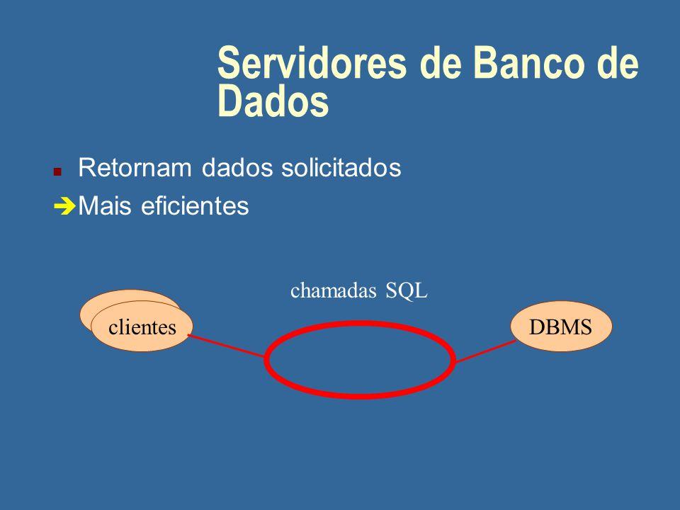 Servidores de Arquivos n Retornam registros n O cliente procura os dados no registro retornado clientesservidor chamadas para arquivos