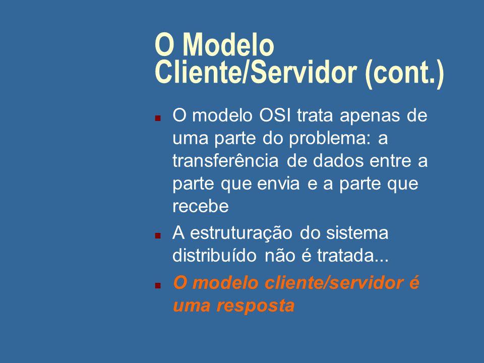 O Modelo Cliente/Servidor Modelo OSI: n A incorporação dos headers gera um grande overhead n Em WANs, onde a velocidade (bps) é geralmente baixa (muda