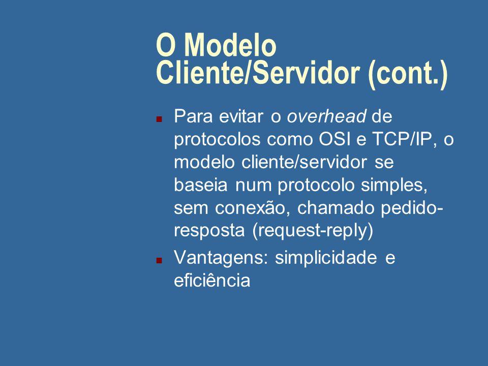 O Modelo Cliente/Servidor (cont.) n O modelo OSI trata apenas de uma parte do problema: a transferência de dados entre a parte que envia e a parte que recebe n A estruturação do sistema distribuído não é tratada...