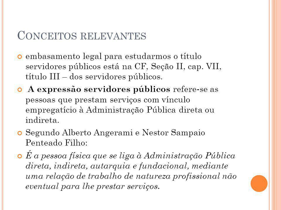 Podem ser: - Estatutários: sujeito ao regime estatutário e ocupantes de cargo público.