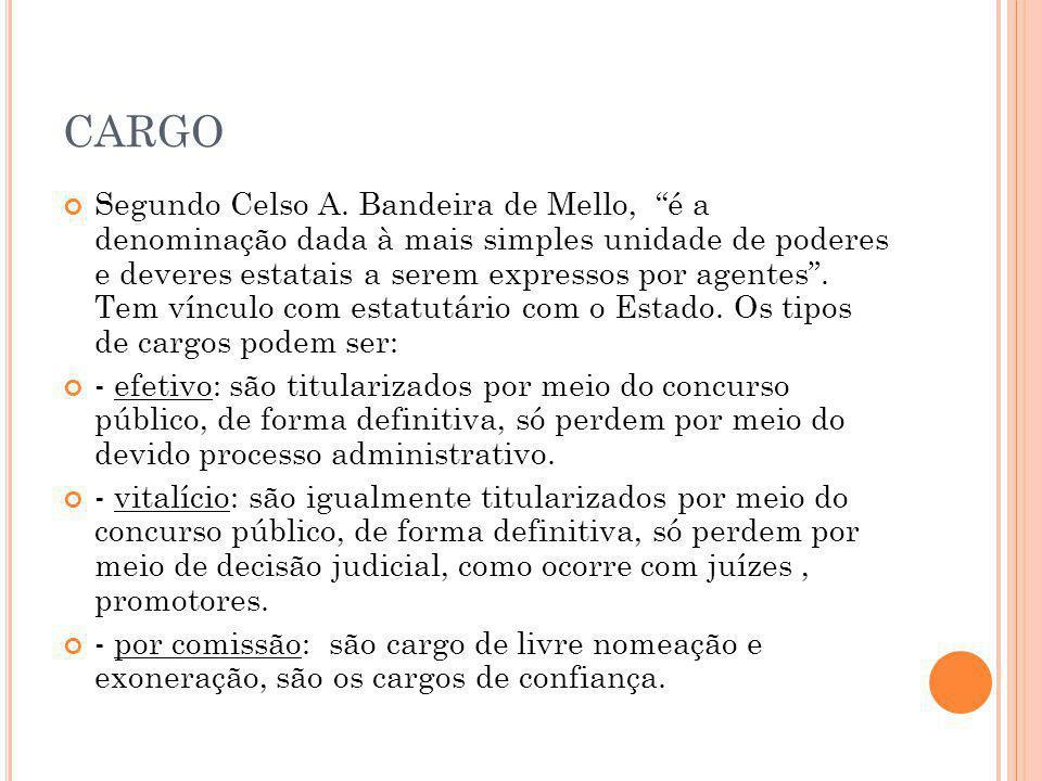 """CARGO Segundo Celso A. Bandeira de Mello, """"é a denominação dada à mais simples unidade de poderes e deveres estatais a serem expressos por agentes"""". T"""