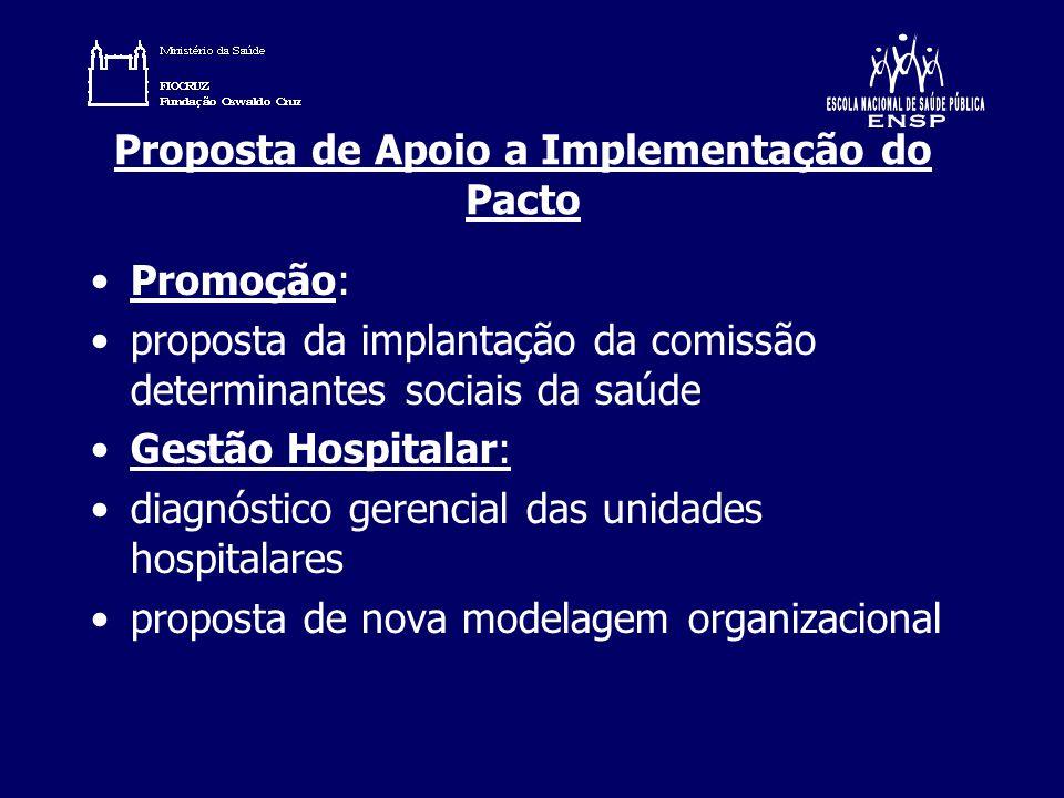 Proposta de Apoio a Implementação do Pacto Promoção: proposta da implantação da comissão determinantes sociais da saúde Gestão Hospitalar: diagnóstico