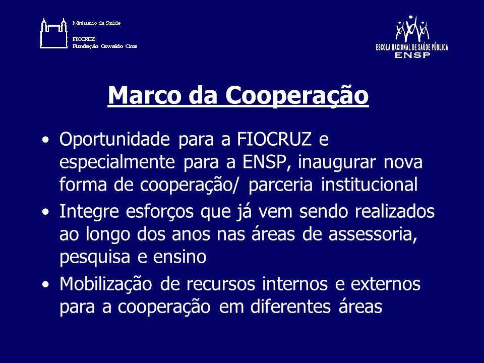 Marco da Cooperação Oportunidade para a FIOCRUZ e especialmente para a ENSP, inaugurar nova forma de cooperação/ parceria institucional Integre esforç