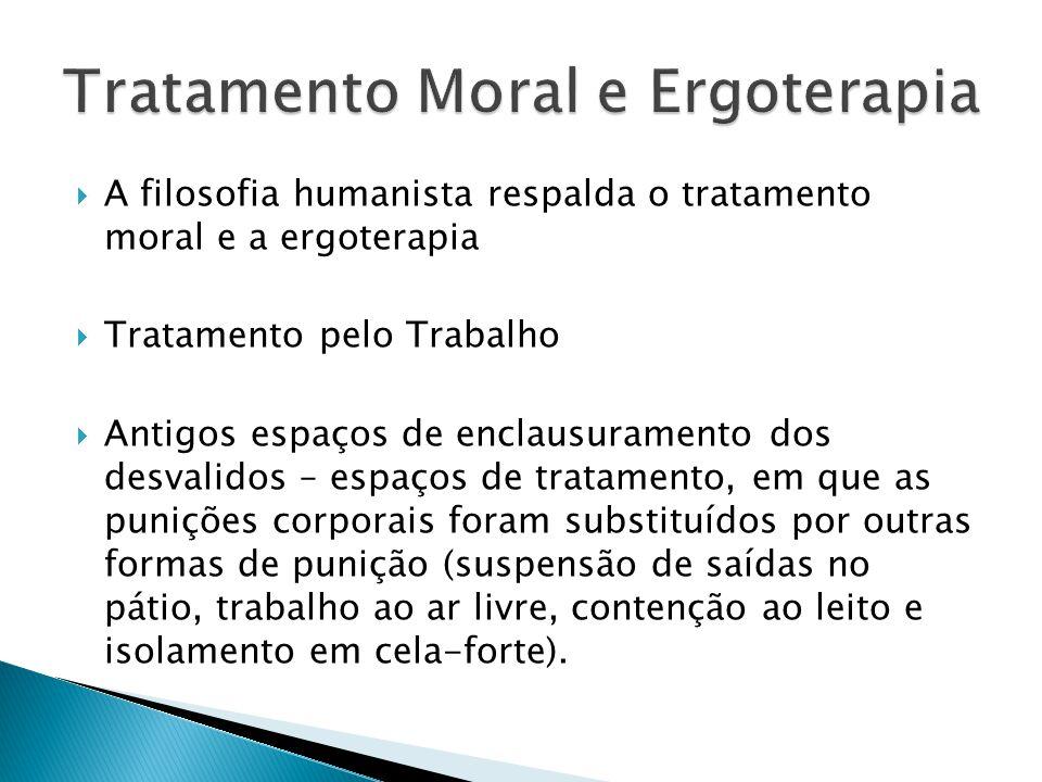  A filosofia humanista respalda o tratamento moral e a ergoterapia  Tratamento pelo Trabalho  Antigos espaços de enclausuramento dos desvalidos – e