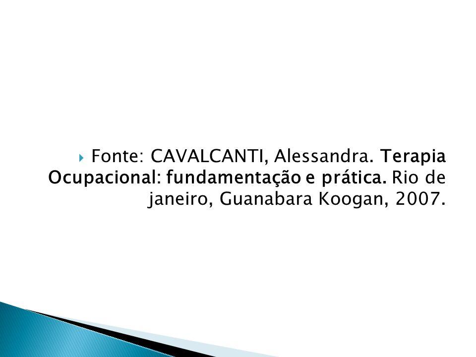  Fonte: CAVALCANTI, Alessandra. Terapia Ocupacional: fundamentação e prática. Rio de janeiro, Guanabara Koogan, 2007.