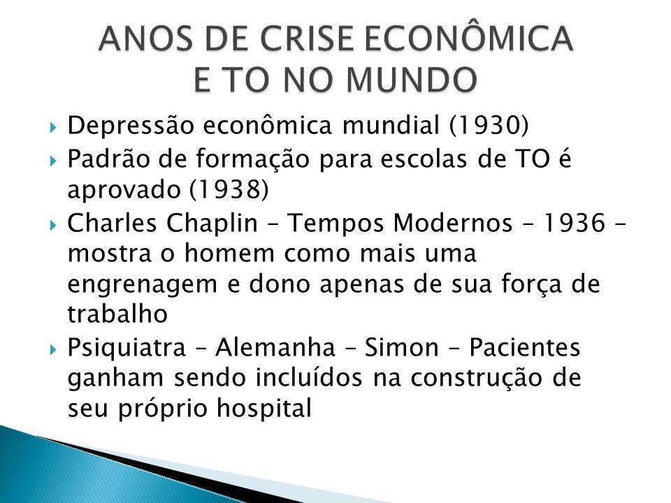  Depressão econômica mundial (1930)  Padrão de formação para escolas de TO é aprovado (1938)  Charles Chaplin – Tempos Modernos – 1936 – mostra o h