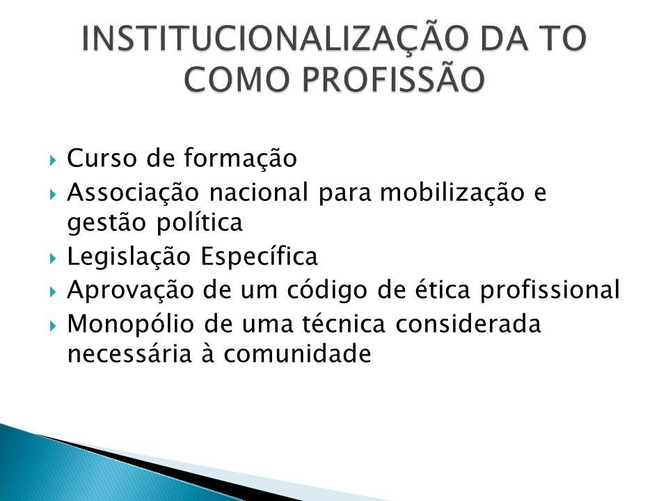  Curso de formação  Associação nacional para mobilização e gestão política  Legislação Específica  Aprovação de um código de ética profissional 