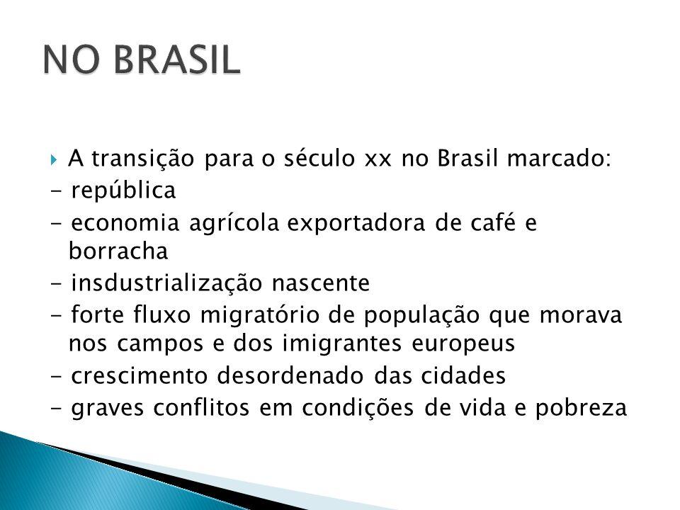  A transição para o século xx no Brasil marcado: - república - economia agrícola exportadora de café e borracha - insdustrialização nascente - forte