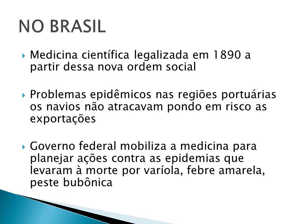  Medicina científica legalizada em 1890 a partir dessa nova ordem social  Problemas epidêmicos nas regiões portuárias os navios não atracavam pondo