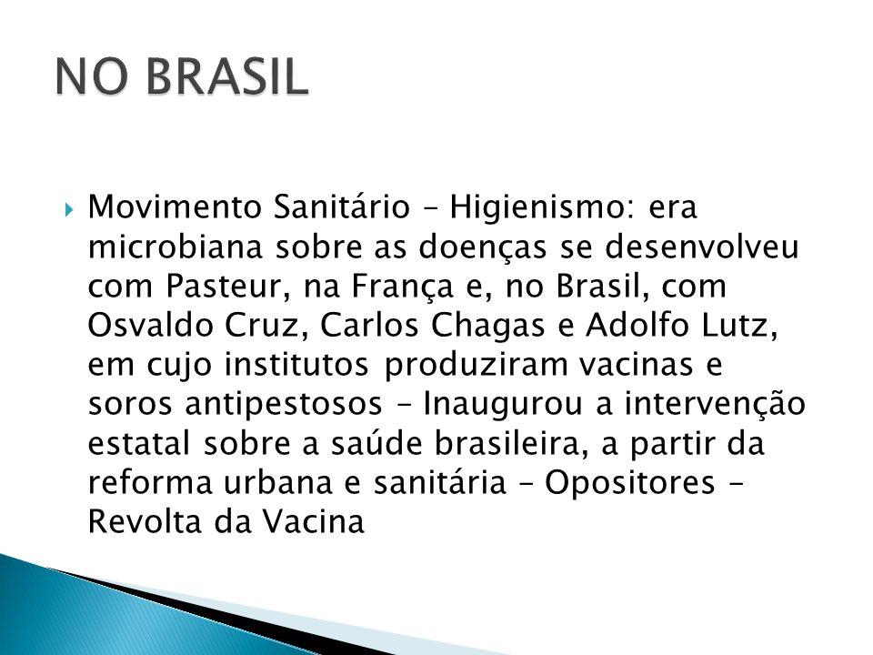  Movimento Sanitário – Higienismo: era microbiana sobre as doenças se desenvolveu com Pasteur, na França e, no Brasil, com Osvaldo Cruz, Carlos Chaga