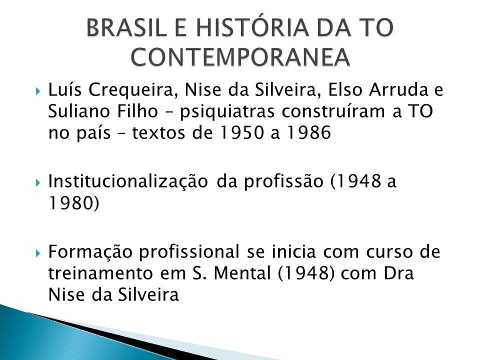  Luís Crequeira, Nise da Silveira, Elso Arruda e Suliano Filho – psiquiatras construíram a TO no país – textos de 1950 a 1986  Institucionalização d