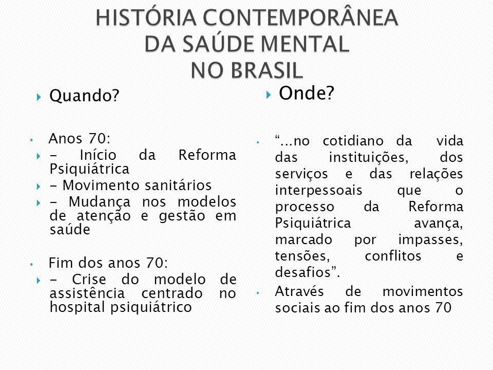 Anos 70:  - Início da Reforma Psiquiátrica  - Movimento sanitários  - Mudança nos modelos de atenção e gestão em saúde Fim dos anos 70:  - Crise d