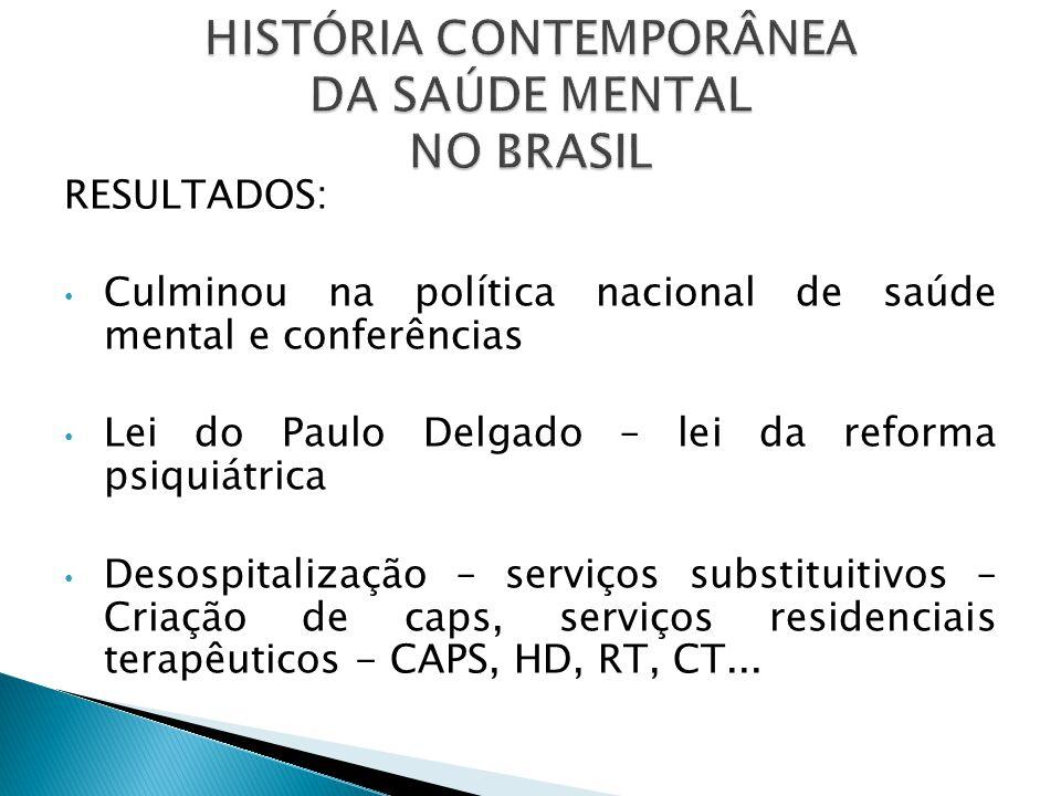 RESULTADOS: Culminou na política nacional de saúde mental e conferências Lei do Paulo Delgado – lei da reforma psiquiátrica Desospitalização – serviço