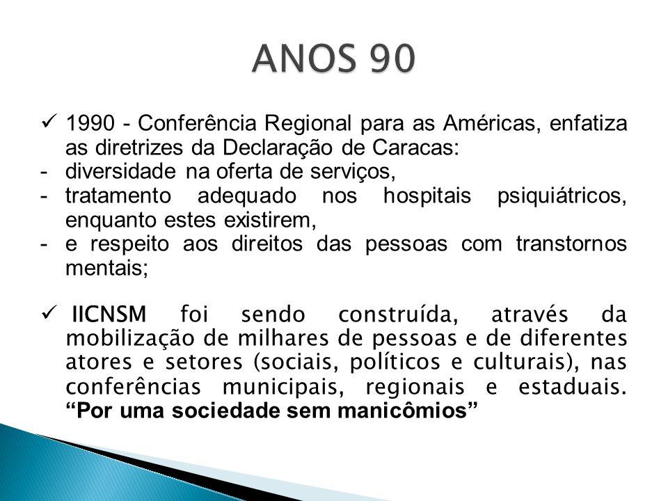 1990 - Conferência Regional para as Américas, enfatiza as diretrizes da Declaração de Caracas: -diversidade na oferta de serviços, -tratamento adequad