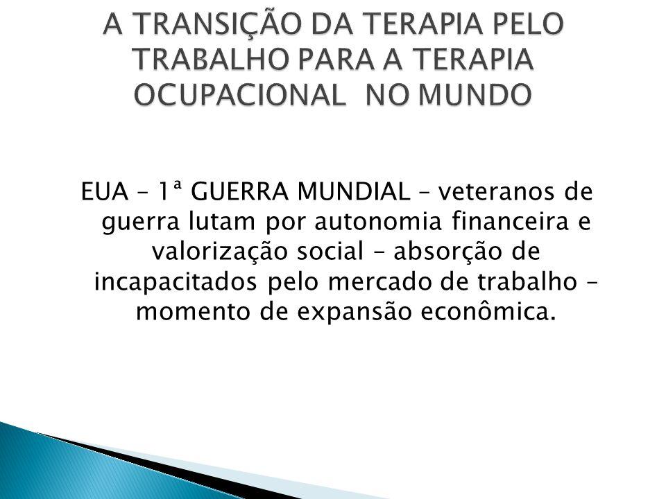  Luís Crequeira, Nise da Silveira, Elso Arruda e Suliano Filho – psiquiatras construíram a TO no país – textos de 1950 a 1986  Institucionalização da profissão (1948 a 1980)  Formação profissional se inicia com curso de treinamento em S.