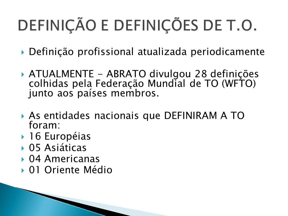  Definição profissional atualizada periodicamente  ATUALMENTE - ABRATO divulgou 28 definições colhidas pela Federação Mundial de TO (WFTO) junto aos