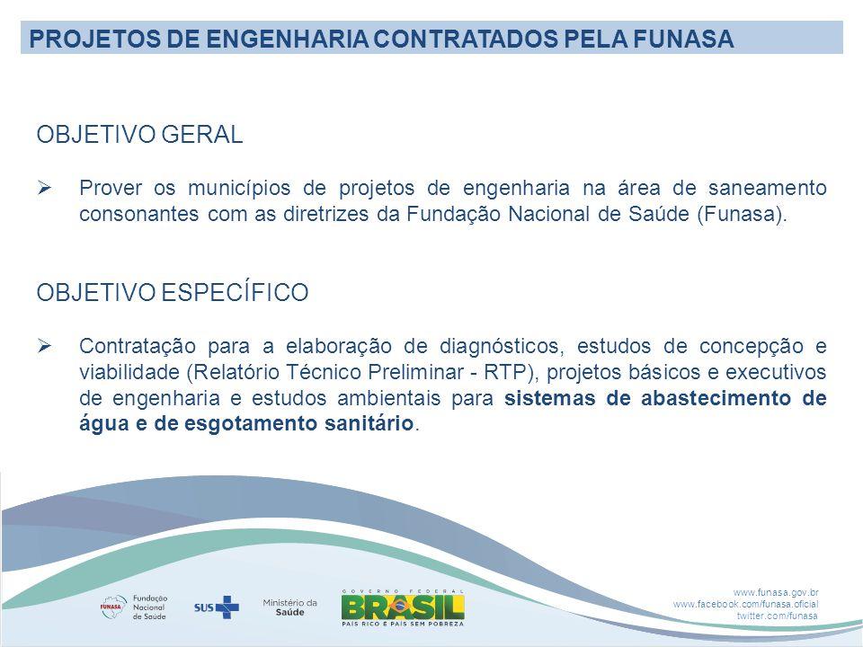 www.funasa.gov.br www.facebook.com/funasa.oficial twitter.com/funasa PROJETOS DE ENGENHARIA CONTRATADOS PELA FUNASA OBJETIVO GERAL  Prover os municípios de projetos de engenharia na área de saneamento consonantes com as diretrizes da Fundação Nacional de Saúde (Funasa).