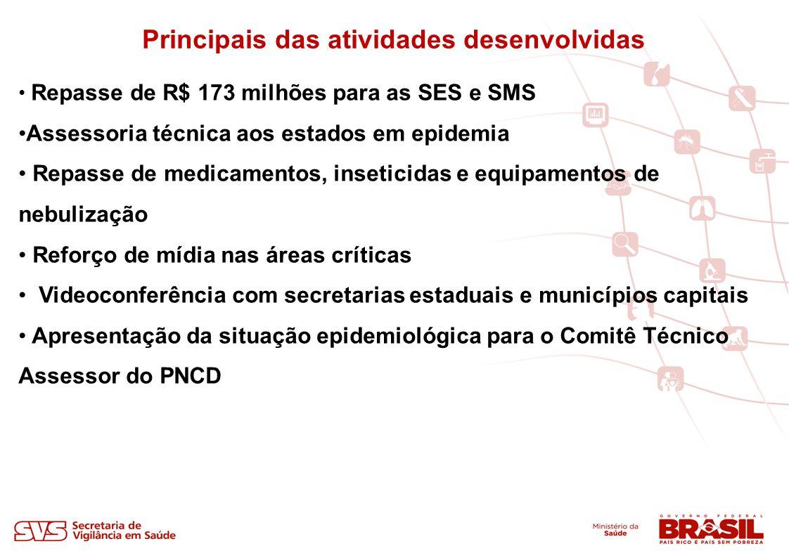 Principais das atividades desenvolvidas Repasse de R$ 173 milhões para as SES e SMS Assessoria técnica aos estados em epidemia Repasse de medicamentos