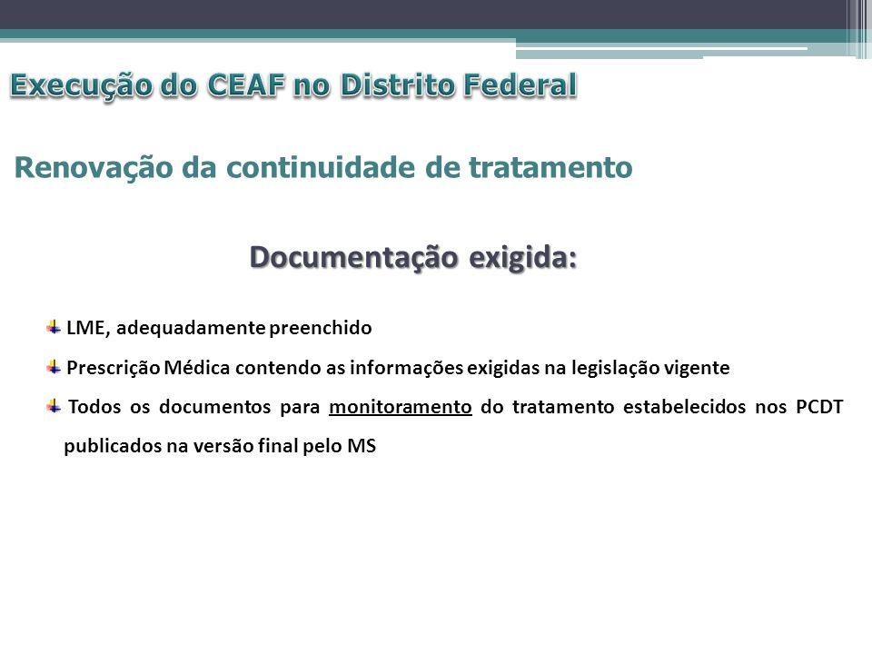 Renovação da continuidade de tratamento LME, adequadamente preenchido Prescrição Médica contendo as informações exigidas na legislação vigente Todos o