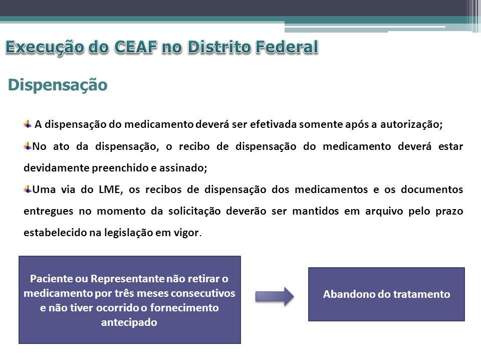 Dispensação A dispensação do medicamento deverá ser efetivada somente após a autorização; No ato da dispensação, o recibo de dispensação do medicament