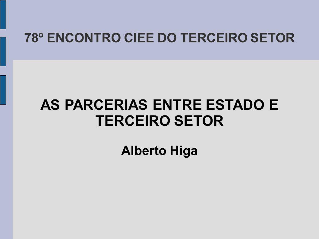 78º ENCONTRO CIEE DO TERCEIRO SETOR AS PARCERIAS ENTRE ESTADO E TERCEIRO SETOR Alberto Higa