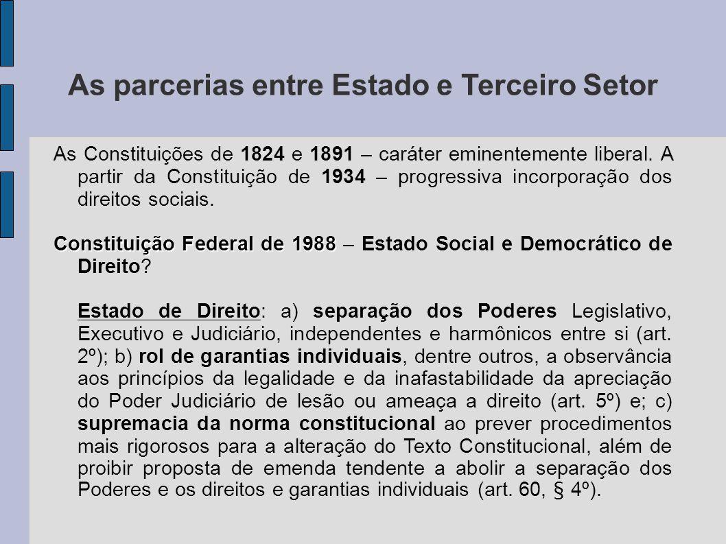 As parcerias entre Estado e Terceiro Setor As Constituições de 1824 e 1891 – caráter eminentemente liberal. A partir da Constituição de 1934 – progres
