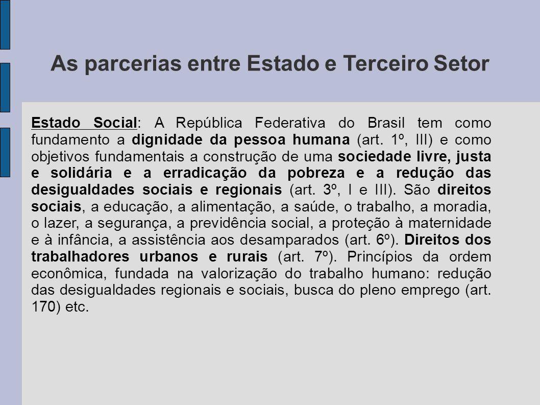 As parcerias entre Estado e Terceiro Setor Estado Social: A República Federativa do Brasil tem como fundamento a dignidade da pessoa humana (art. 1º,