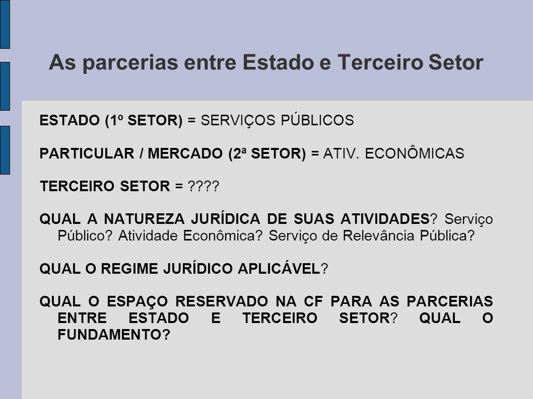 As parcerias entre Estado e Terceiro Setor ESTADO (1º SETOR) = SERVIÇOS PÚBLICOS PARTICULAR / MERCADO (2ª SETOR) = ATIV. ECONÔMICAS TERCEIRO SETOR = ?