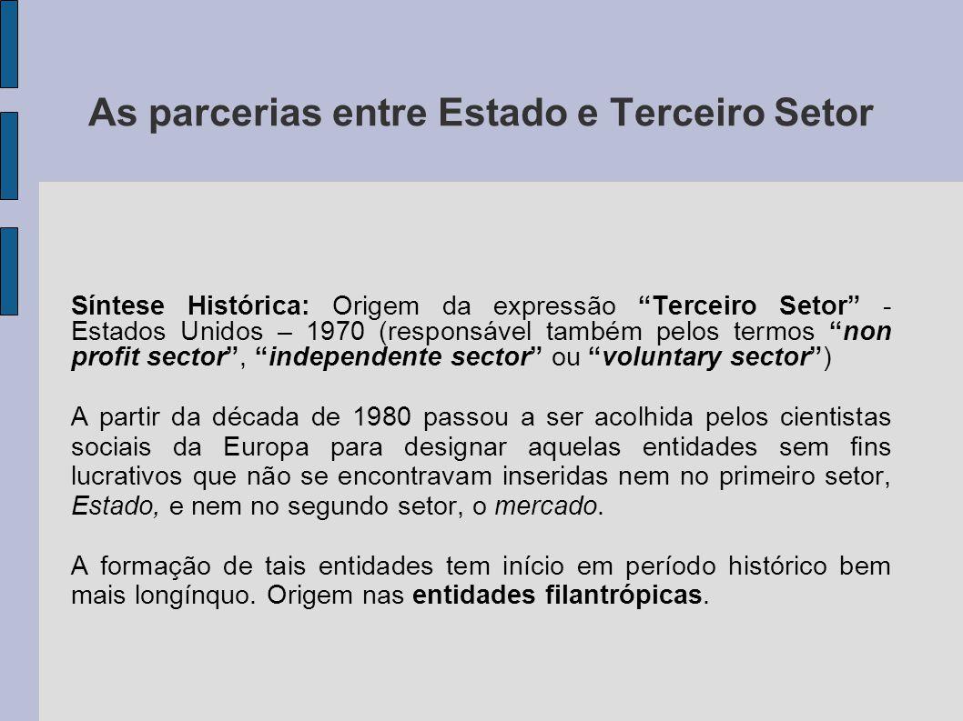 """As parcerias entre Estado e Terceiro Setor Síntese Histórica: Origem da expressão """"Terceiro Setor"""" - Estados Unidos – 1970 (responsável também pelos t"""