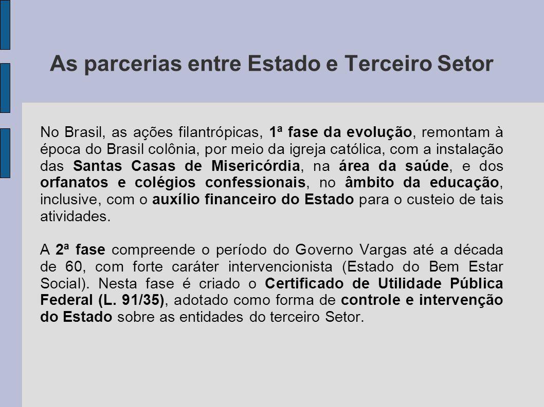 As parcerias entre Estado e Terceiro Setor No Brasil, as ações filantrópicas, 1ª fase da evolução, remontam à época do Brasil colônia, por meio da igr