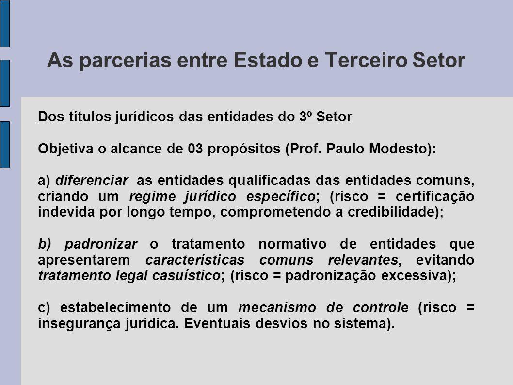 As parcerias entre Estado e Terceiro Setor Dos títulos jurídicos das entidades do 3º Setor Objetiva o alcance de 03 propósitos (Prof. Paulo Modesto):