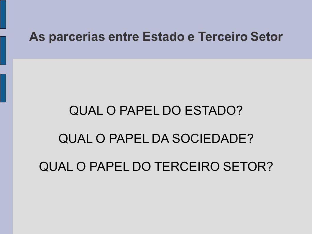 As parcerias entre Estado e Terceiro Setor QUAL O PAPEL DO ESTADO.