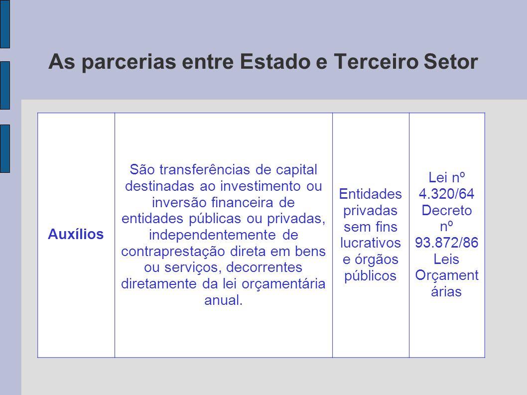 As parcerias entre Estado e Terceiro Setor Auxílios São transferências de capital destinadas ao investimento ou inversão financeira de entidades públi