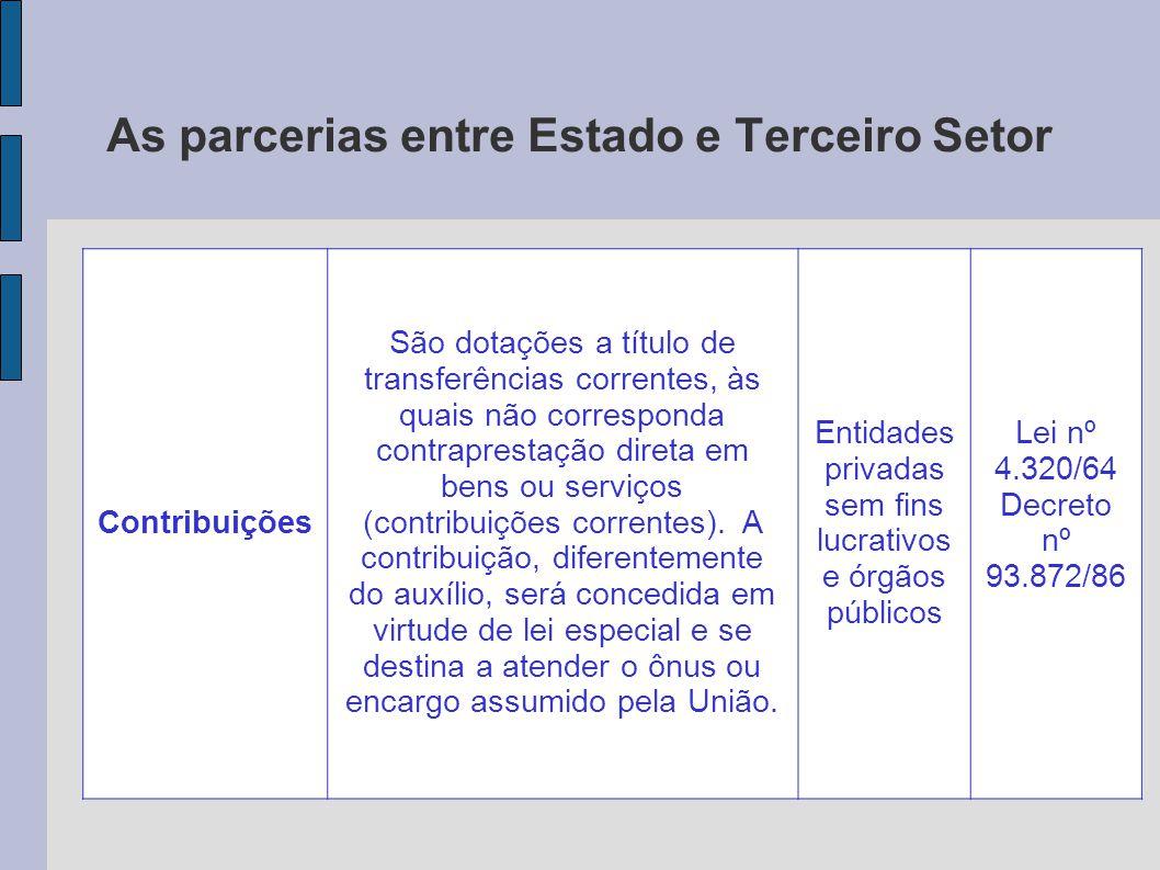 As parcerias entre Estado e Terceiro Setor Contribuições São dotações a título de transferências correntes, às quais não corresponda contraprestação d