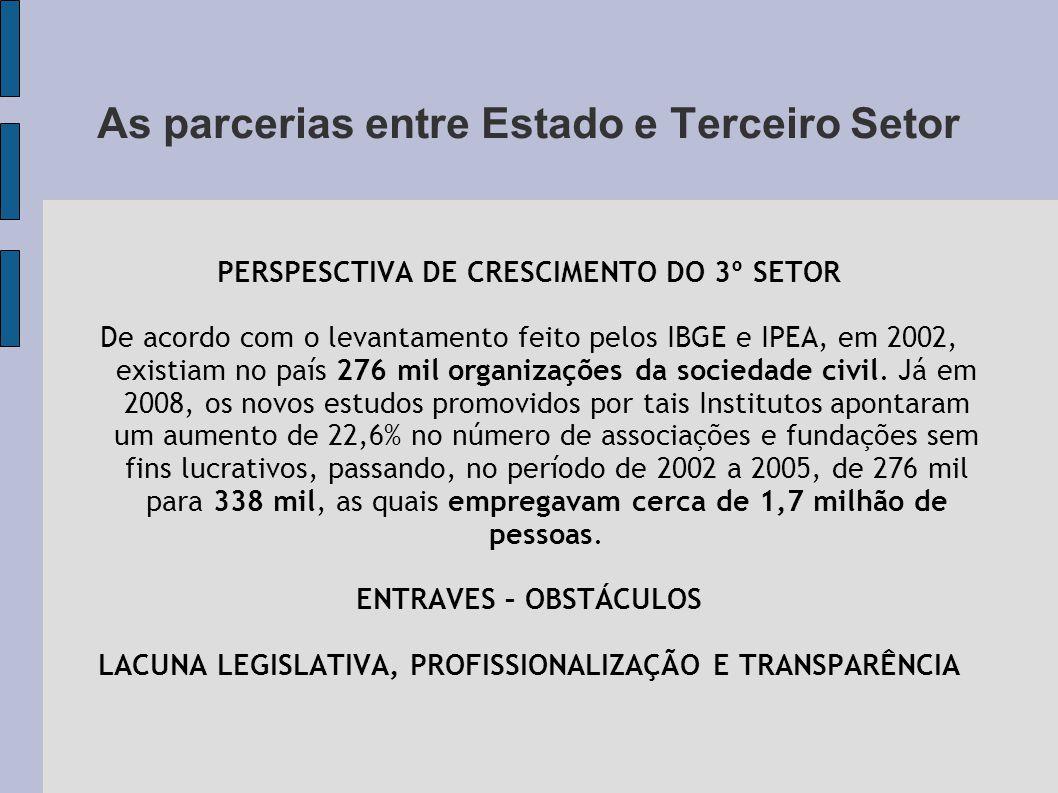 As parcerias entre Estado e Terceiro Setor PERSPESCTIVA DE CRESCIMENTO DO 3º SETOR De acordo com o levantamento feito pelos IBGE e IPEA, em 2002, existiam no país 276 mil organizações da sociedade civil.
