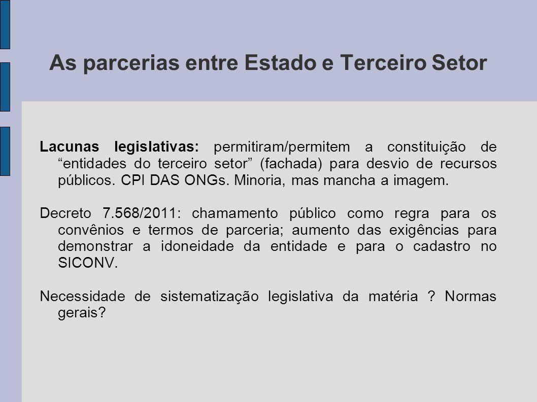 As parcerias entre Estado e Terceiro Setor Lacunas legislativas: permitiram/permitem a constituição de entidades do terceiro setor (fachada) para desvio de recursos públicos.
