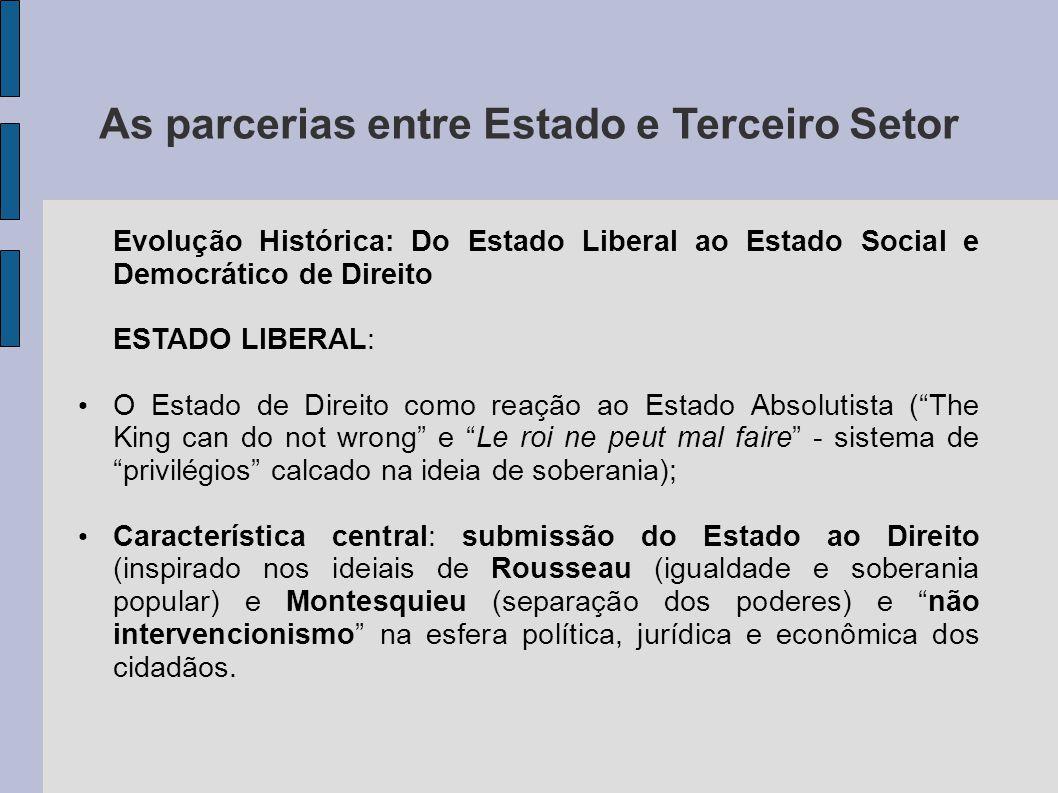 As parcerias entre Estado e Terceiro Setor Evolução Histórica: Do Estado Liberal ao Estado Social e Democrático de Direito ESTADO LIBERAL: O Estado de