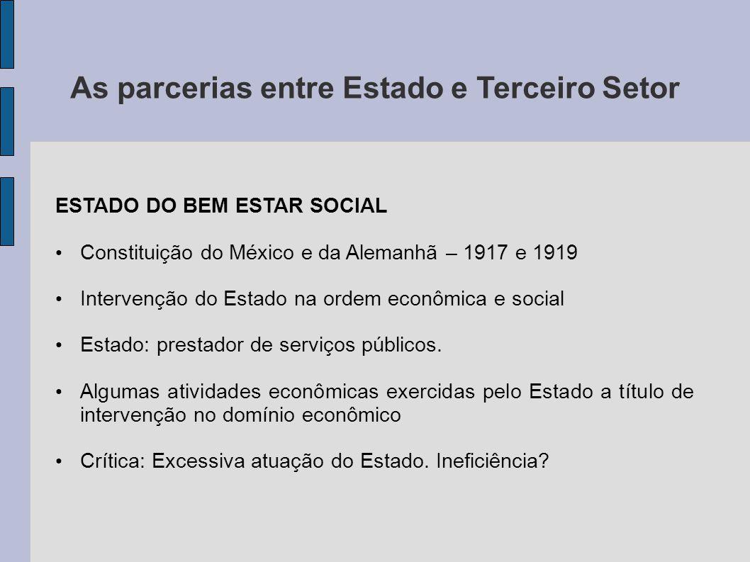 As parcerias entre Estado e Terceiro Setor ESTADO DO BEM ESTAR SOCIAL Constituição do México e da Alemanhã – 1917 e 1919 Intervenção do Estado na orde