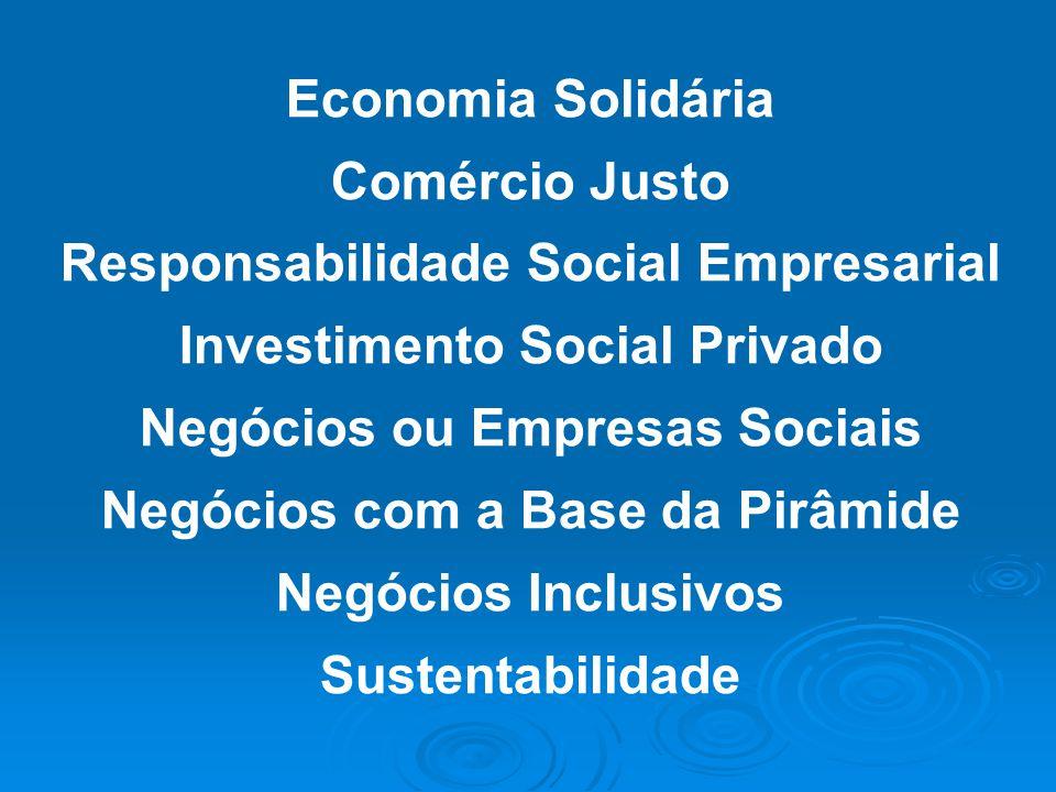 Economia Solidária Comércio Justo Responsabilidade Social Empresarial Investimento Social Privado Negócios ou Empresas Sociais Negócios com a Base da
